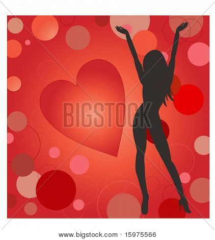 sexy female with heart and circles (easy to use separate elements)