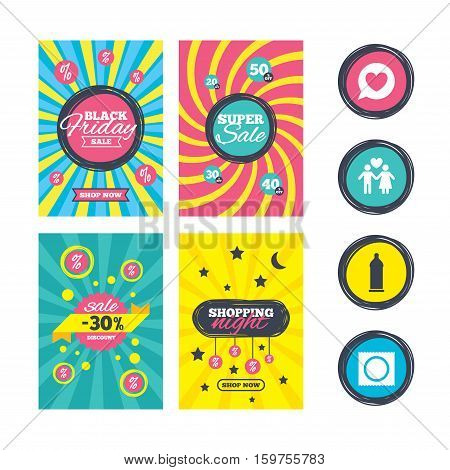 Sale website banner templates. Condom safe sex icons. Lovers couple signs. Male love female. Speech bubble with heart. Ads promotional material. Vector