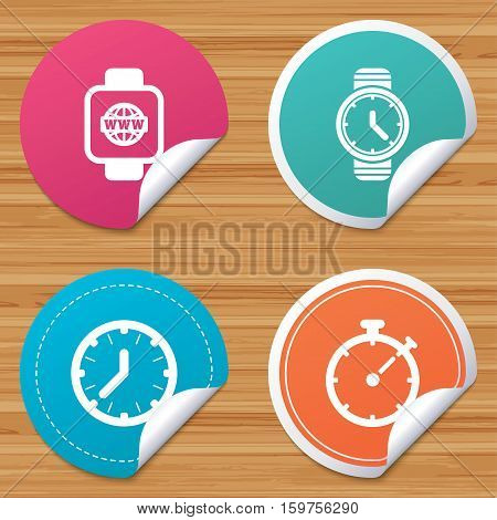 Round stickers or website banners. Smart watch with internet icons. Mechanical clock time, Stopwatch timer symbols. Wrist digital watch sign. Circle badges with bended corner. Vector