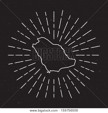 Saudi Arabia Vector Map Outline With Vintage Sunburst Border. Hand Drawn Map With Hipster Decoration
