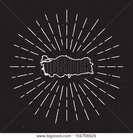 Turkey Vector Map Outline With Vintage Sunburst Border. Hand Drawn Map With Hipster Decoration Eleme