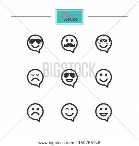 Smile speech bubbles icons. Happy, sad and wink faces signs. Sunglasses, mustache and laughing lol smiley symbols. Black flat icons. Classic design. Vector