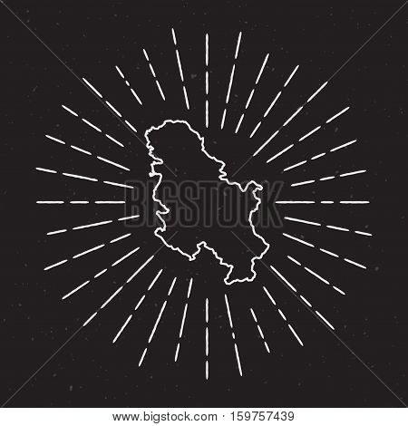 Serbia Vector Map Outline With Vintage Sunburst Border. Hand Drawn Map With Hipster Decoration Eleme