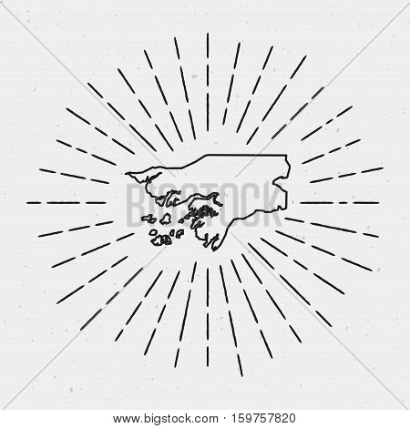 Vector Guinea-bissau Map Outline With Retro Sunburst Border. Hand Drawn Hipster Decoration Element.