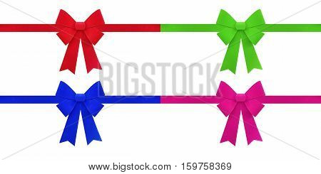 red blue green pink and purple bows isolated on white background