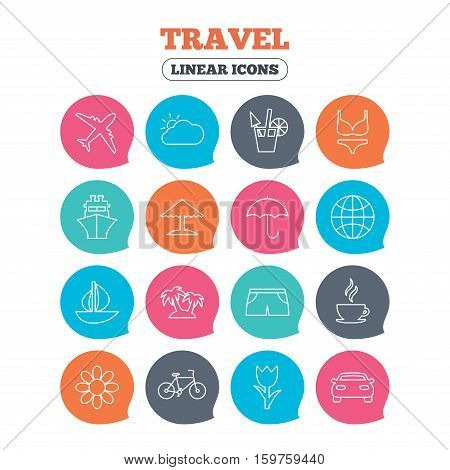 Travel icons. Ship, plane and car transport. Beach umbrella, palms and cocktail. Swimming trunks. Rose or tulip flower. Flat speech bubbles with linear icons. Vector