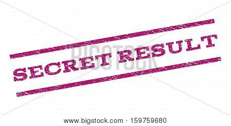 Secret Result watermark stamp. Text tag between parallel lines with grunge design style. Rubber seal stamp with dust texture. Vector purple color ink imprint on a white background.