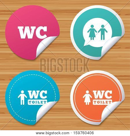Round stickers or website banners. WC Toilet icons. Gents and ladies room signs. Man and woman speech bubble symbol. Circle badges with bended corner. Vector