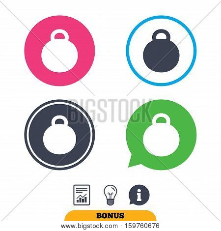 Weight sign icon. Sport symbol. Fitness. Report document, information sign and light bulb icons. Vector