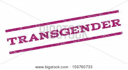 Transgender watermark stamp. Text caption between parallel lines with grunge design style. Rubber seal stamp with scratched texture. Vector purple color ink imprint on a white background.