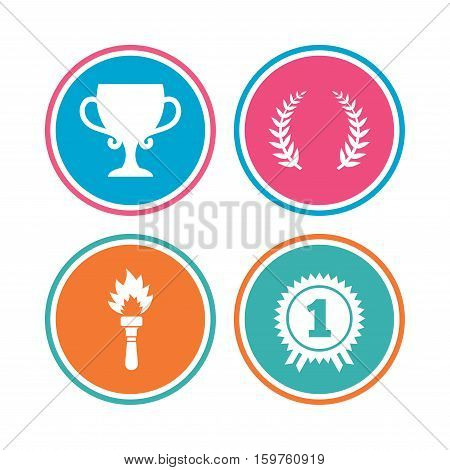 First place award cup icons. Laurel wreath sign. Torch fire flame symbol. Prize for winner. Colored circle buttons. Vector