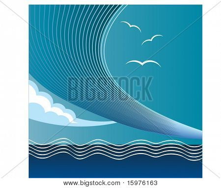 waves out on the ocean with seagulls