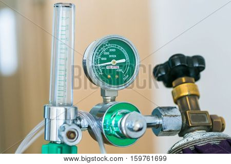 Close up oxygen cylinder in the hospital.