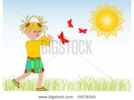 cartoon girl chasing butterflies