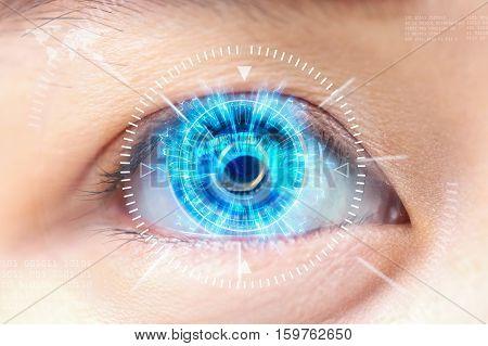 Close-up blue eye. High technology the futuristic. : cataract