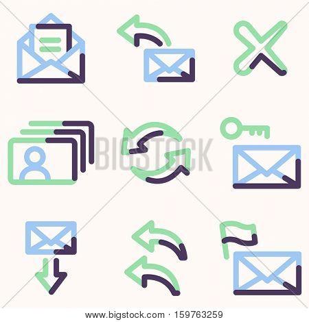 E-mail icons set 1, color contour series