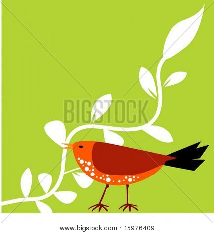 bird with leaf
