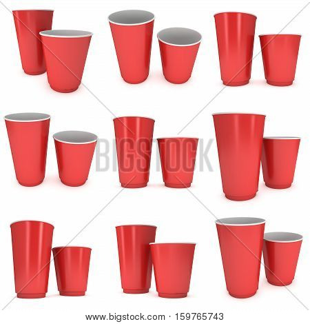 Disposable drink cups set. Red paper mug. 3d render isolated on white background