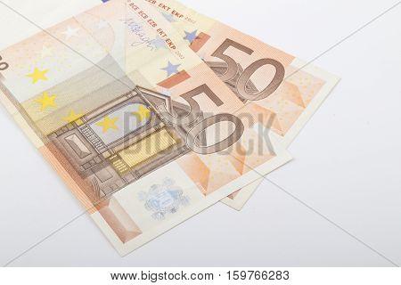 Fifty euros isolated on white background .