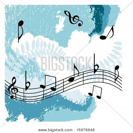 musical notes over grunge background