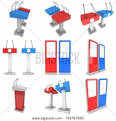 Two Speaker Podiums. Red and blue Tribune Rostrum Stand with Microphones and lcd screens set. 3d render isolated on white background. Debate, press conference concept
