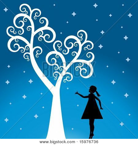 tree with girl  and stars