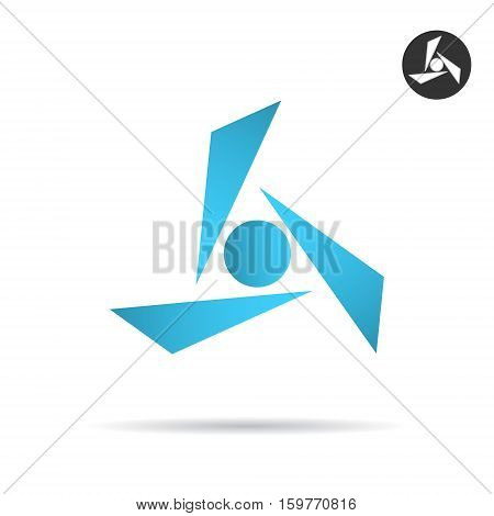 Delta shape formed by three glass fragments 2d vector illustration isolated on white background eps 10