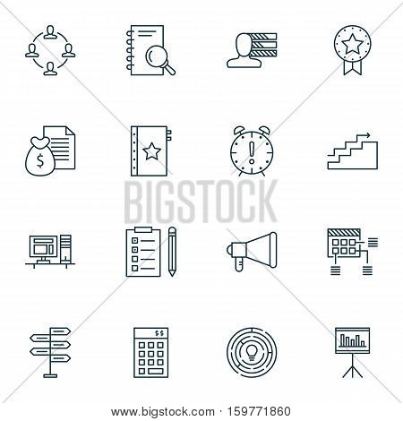 Set Of 16 Project Management Icons. Can Be Used For Web, Mobile, UI And Infographic Design. Includes Elements Such As Making, Personal, Schedule And More.