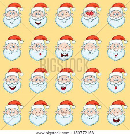 Funny Santa Claus heads set. Vector cartoon set of different Santa Claus faces. Santa Claus emoji. Santa Claus smiley.