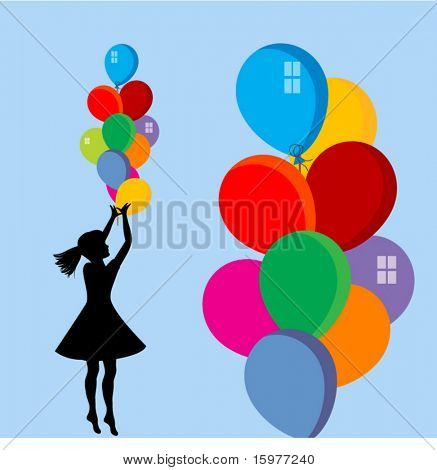 niña con globos