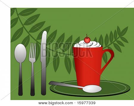 yummy drink with flatware