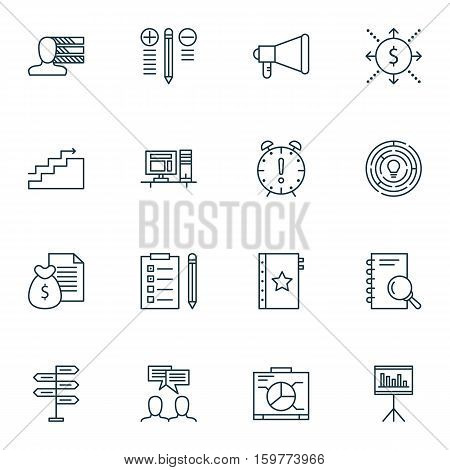 Set Of 16 Project Management Icons. Can Be Used For Web, Mobile, UI And Infographic Design. Includes Elements Such As Quality, Management, Statistic And More.