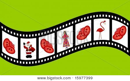 filmstrip with christmas elements santa bells angel flamingo with santa hat