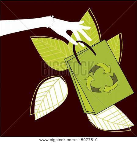 hand holding recycle shopping bag