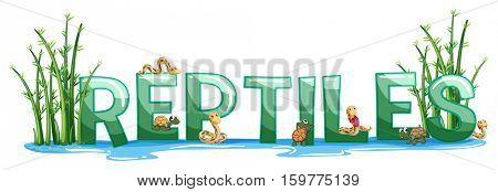 Font design for word reptiles illustration