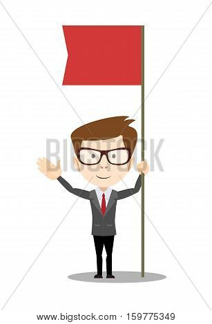 Businessman with flag Icon . Stock vector illustration