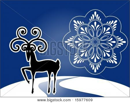 reindeer with unique snowflake