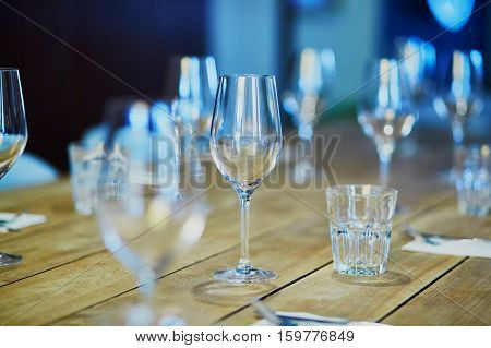 Row Of Wine Glasses On The Table