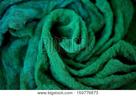 Textured, twisted into a flower gauze. Emerald  Close