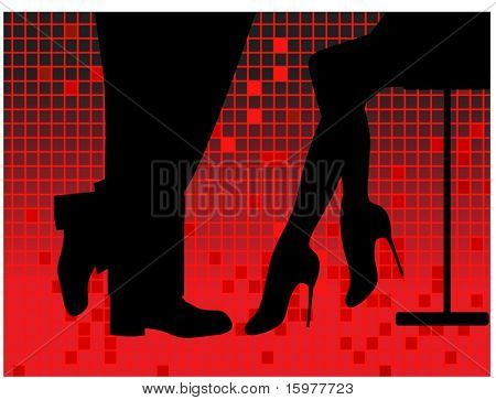 party time -silhouette of man and woman at bar