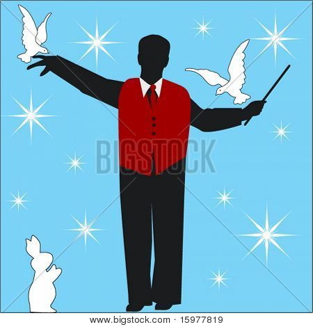 magician  with birds and rabbit
