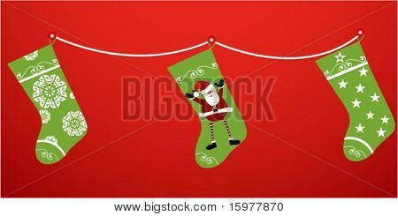 christmas stockings on a string
