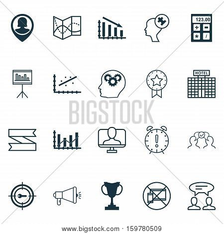 Set Of 20 Universal Editable Icons. Can Be Used For Web, Mobile And App Design. Includes Elements Such As Cooperation, Dialogue, Keyword Marketing And More.