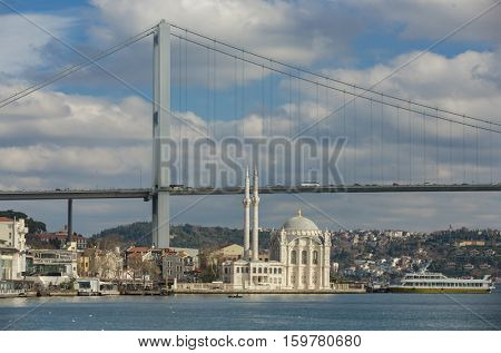 Iconic Istanbul view of The Bridge and The Mosque