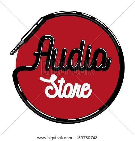 Color vintage audio store emblem, Audio Technology, Abstract Shape