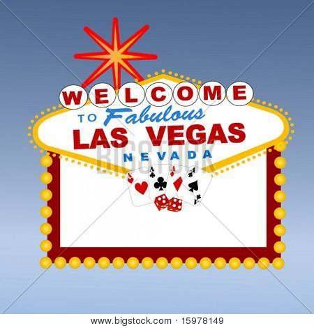 welcome to Las Vegas sign with cards and dice