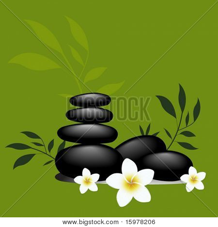 frangipani flowers with spa rocks and bamboo leaves