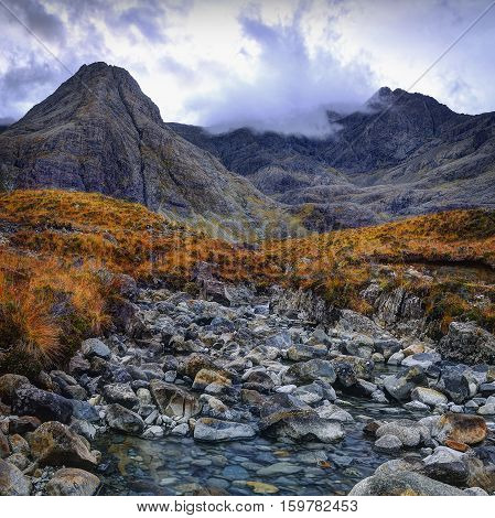 Running clouds running waters. Fairy Pools Glen Brittle Isle of Skye Inner Hebrides Highlands Scotland
