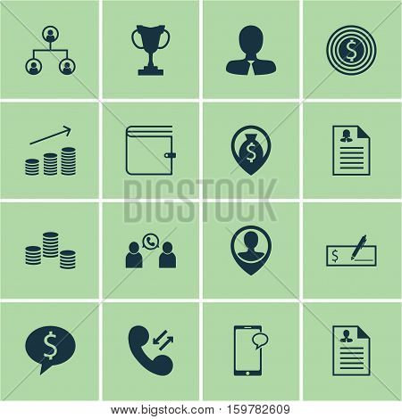 Set Of 16 Management Icons. Can Be Used For Web, Mobile, UI And Infographic Design. Includes Elements Such As Purse, Profile, Goal And More.