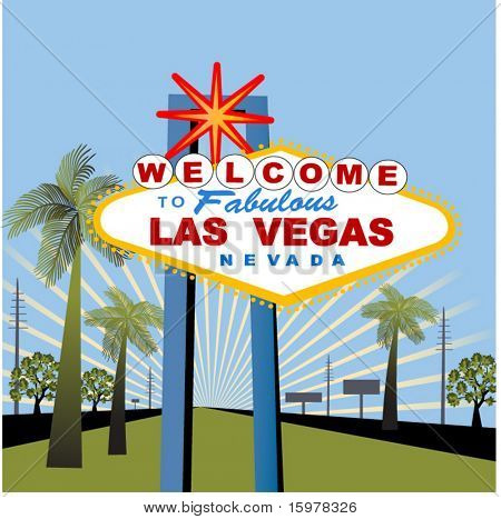 las vegas sign with palm trees and burst
